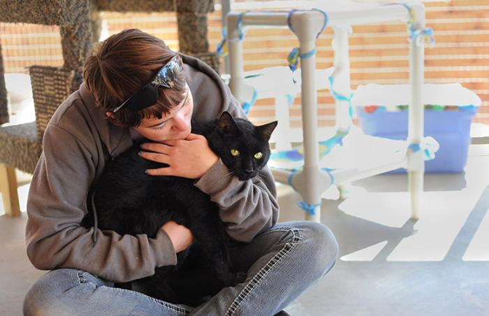 Phanty the all-black cat being snuggled by a woman
