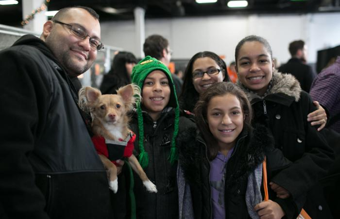 Hercules the dog gets adopted at New York holiday pet adoption event