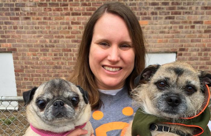 Jenn Yandrisevits, Best Friends New York volunteer with two small dogs