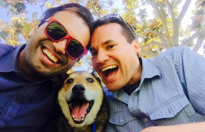 Selfie with Alfie the senior dog, Ankur, and Jonathan