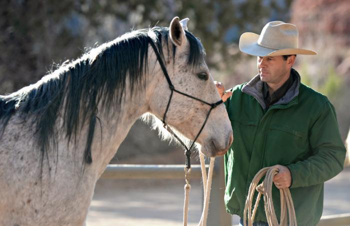Horse and trainer practicing Parelli Natural Horsemanship techniques at Best Friends Animal Sanctuary