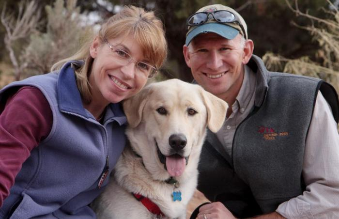 Couple who adopted a Lab dog from a shelter that is located near where they live