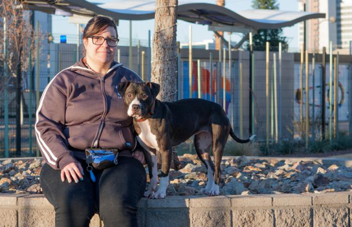 Pit bull Sorento rescued from a fighting ring with her person