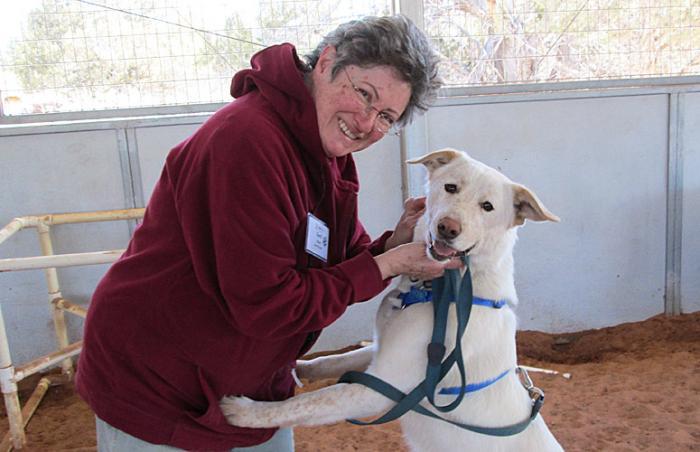 Intern Gerri Spiller with Buttercup the dog