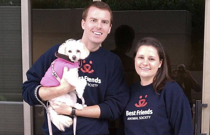 Emma and David Warner with Bella promoting  Combined Federal Campaign for Best Friends