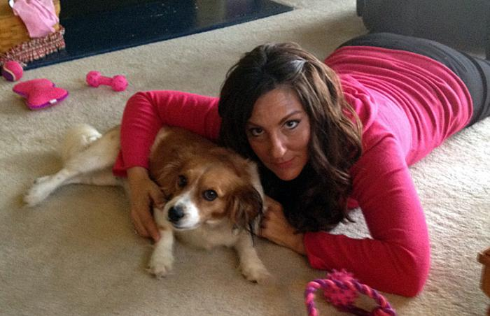 Eudora (Cavalier King Charles spaniel / Papillon mix) and her adopter Hope Bassinger