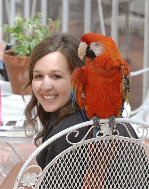 Former Best Friends intern Kirsten Floyd with parrot