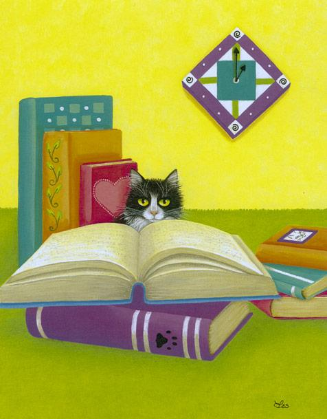 Leslie Cobb's painting of a cat and books