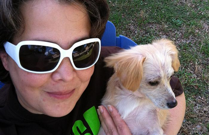Renee Nank with PJ, the puppy who survived distemper, mange and ringworm