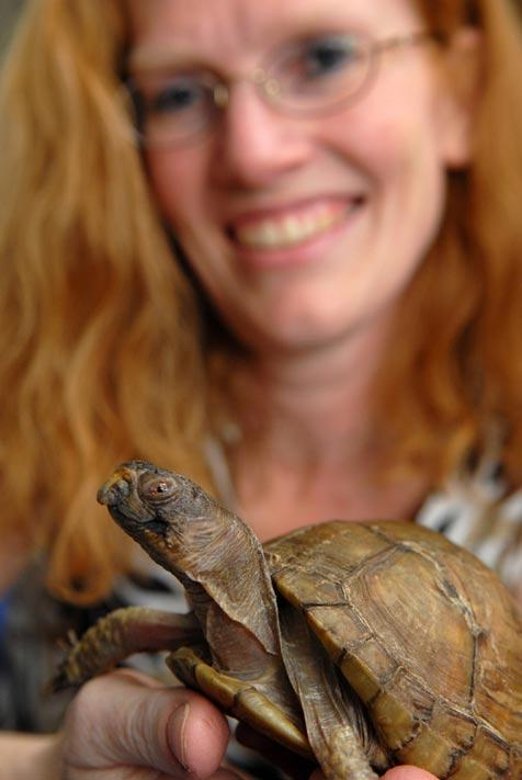 Connie and her new pet turtle