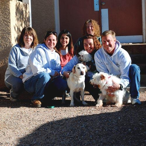 Best Friends staff with Marilyn Theis' dogs