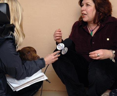 Best Friends representative talks with the media about the Michael Vick dogs