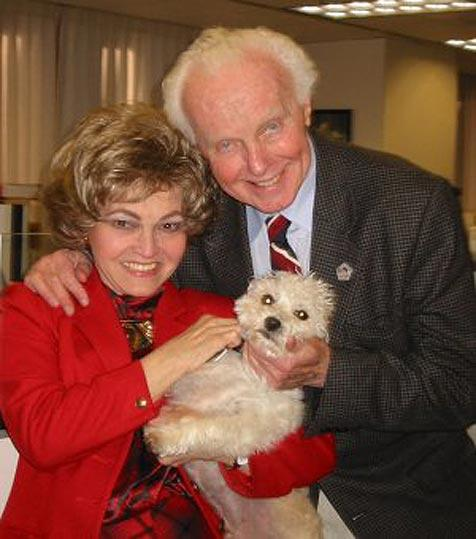 Tom Lantos, his wife, and small dog