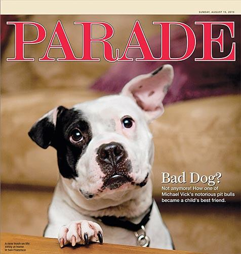 Cover of Parade magazine with feature story about the Vicktory dogs