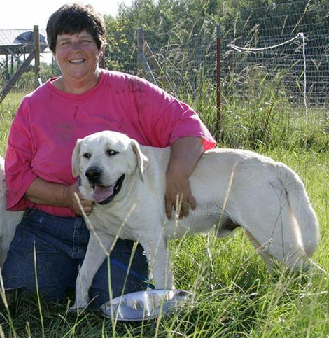 Heidi Krupp and white Labrador retriever dog