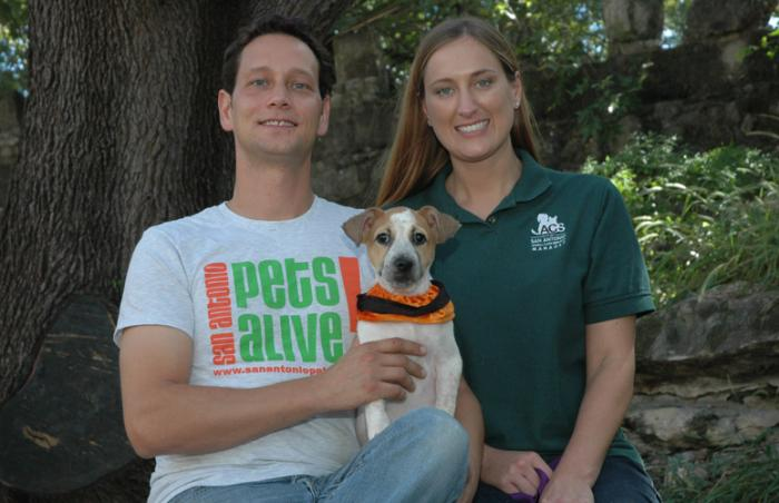 Joel McLellan and Bethany Heins with Tulip the dog whom they adopted from San Antonio Pets Alive (SAPA)