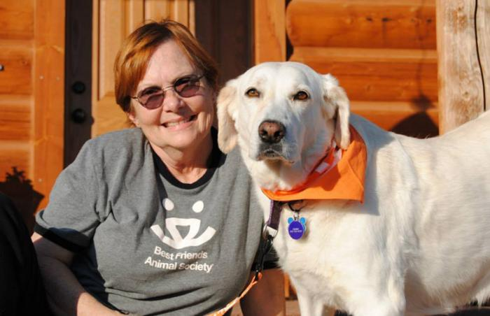 Mama Stormy the Labrador mix dog with Maggie Dahl