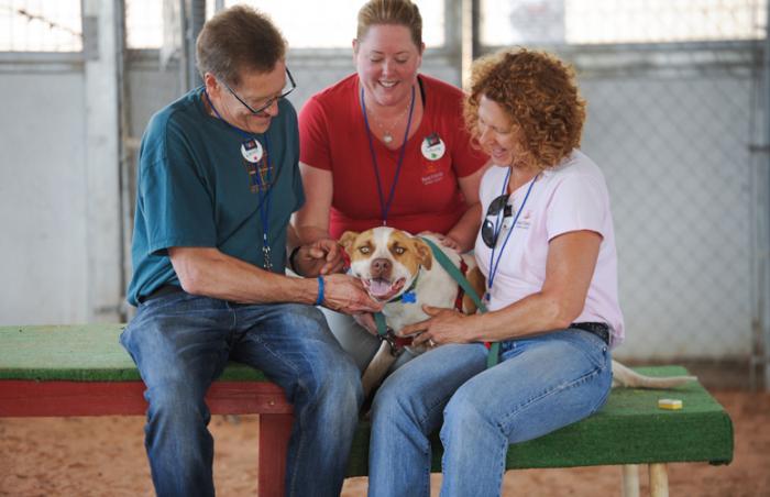Wayne, Ellen and Laura VanPatten volunteer as a family at Best Friends