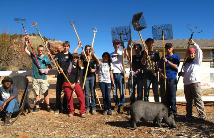 Verde Valley School student volunteers at Best Friends Animal Sanctuary