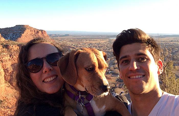 Lindsey Fontana, her friend Devin, and a dog