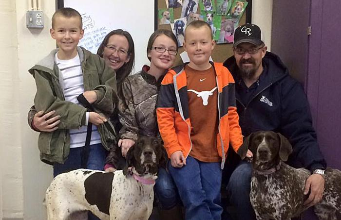 Maggie the purebred German shorthaired pointer is adopted from a rescue group
