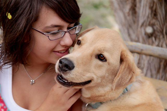 Dog who was just adopted from Best Friends Animal Sanctuary with her new mom