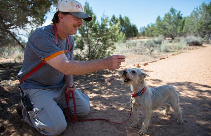 Caregiver Tom with Gerta the former puppy mill dog