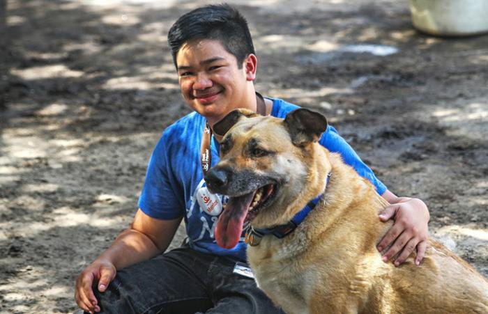 Austin Delos Santos the teen volunteer with Duke the German shepherd dog