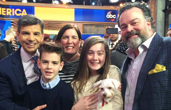 Good Morning America hosts with adopted dog Gracie