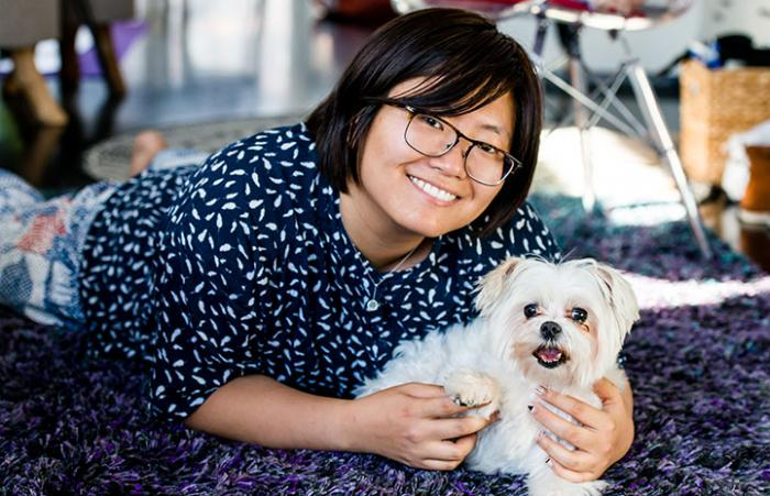 Ting Liu and Happy the Maltese - a happy new family
