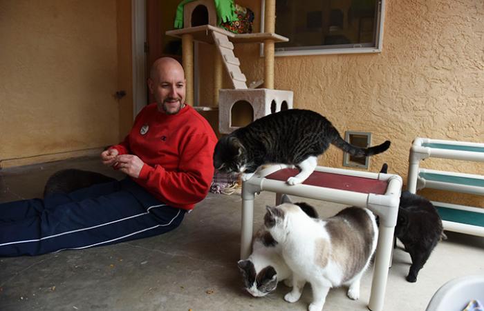 Volunteer Howard Haber at Cat World