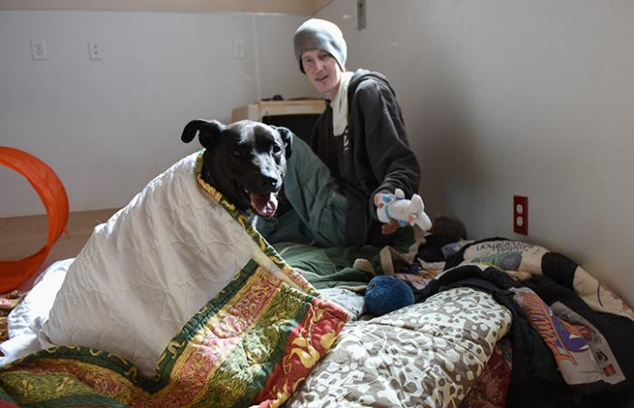 Castiel the dog with caregiver Paul