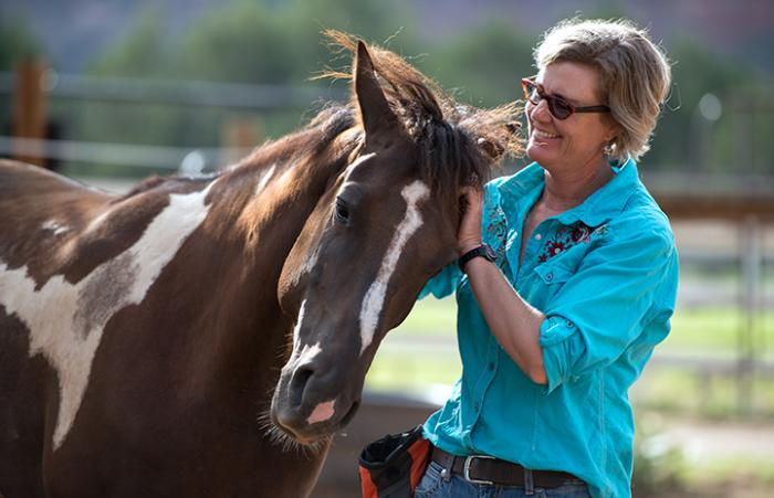 Jen Reid, Horse Haven manager, with Tony