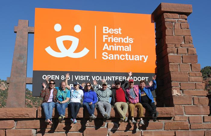 Catherine Welch with the group from Saint Michael's College at Best Friends Animal Sanctuary