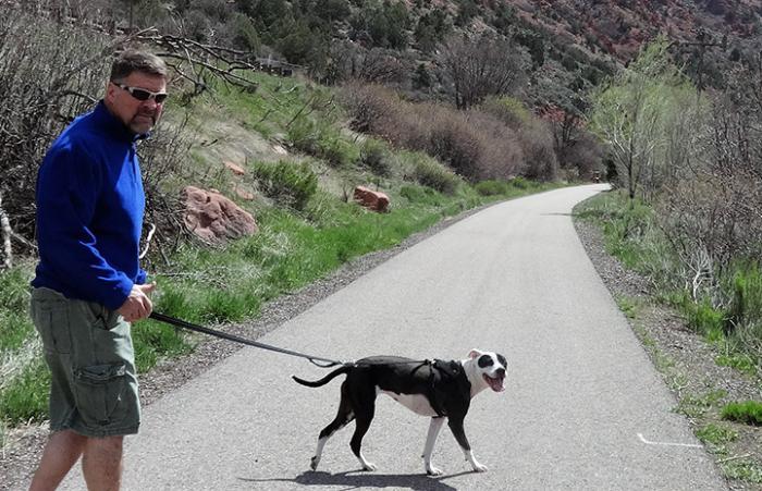 Jessie taking a walk with Joe