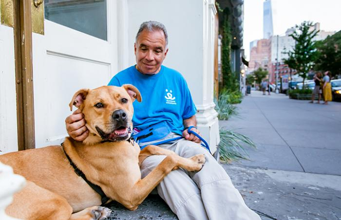 Peter Vega adopted Tyler the dog with a lot of energy from Best Friends in New York