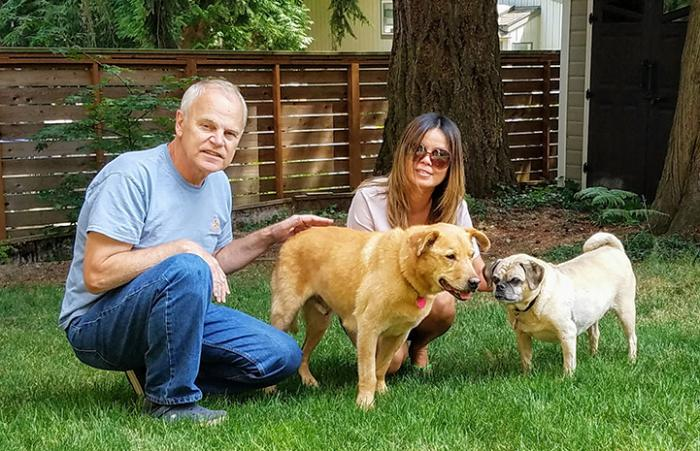 Houdini the dog with his new family