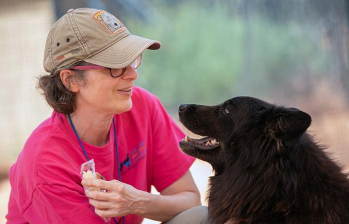 Volunteer Janice MacMillan with Donner the dog
