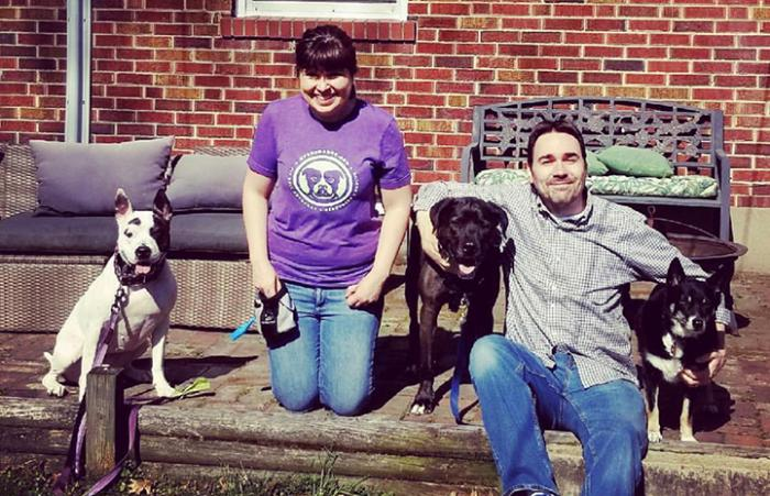 Swing the dog with his new family