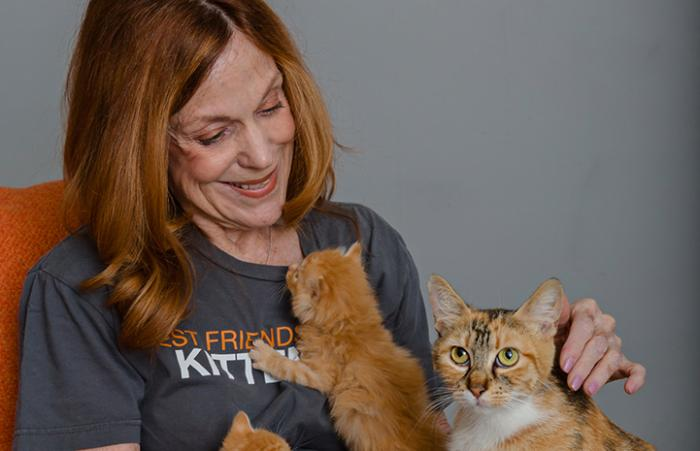 Volunteer Connie Murphy with a mom cat and two orange kittens