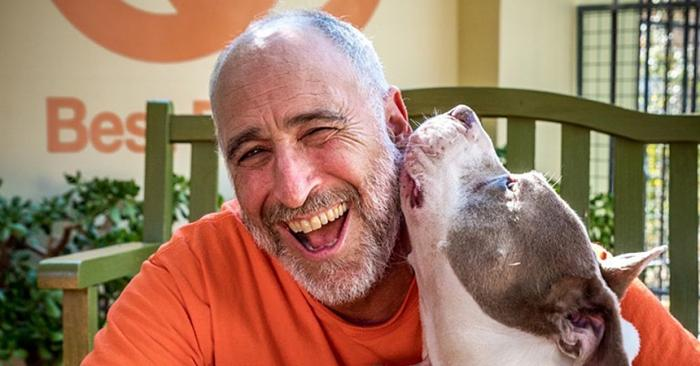 Volunteer David Glazer being kissed on the side of the head by a pit-bull-type dog