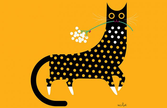Drawing of black and white cat, wearing a polka dog outfit, holding a flower in her mouth with a yellow background