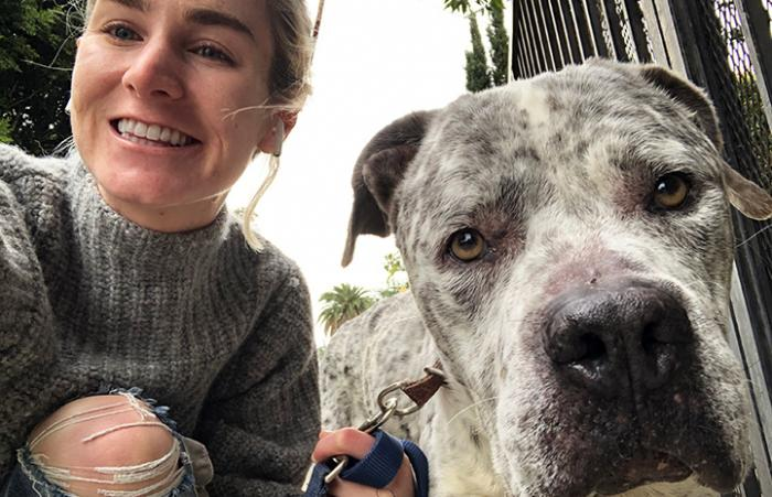 Selfie of woman with Johnny Houla the dog's face