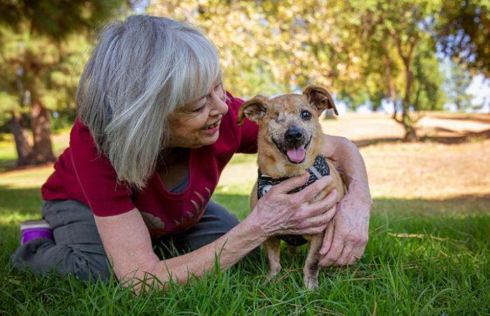 Minx the senior dog with one eye standing and smiling while he gets hugged by his new adopter