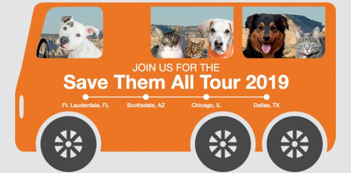Save Them All Tour 2019 bus with dogs and cats in it