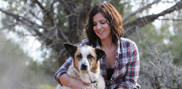 Amy Starnes with a dog
