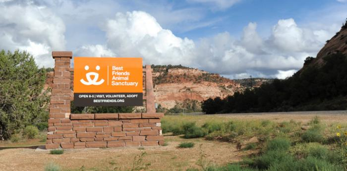 Sign at entrance to Best Friends Animal Sanctuary and Angel Canyon