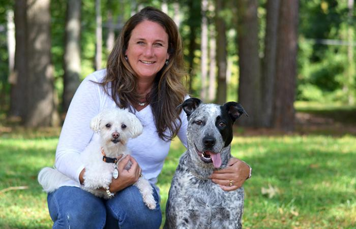 Christina Guyette with two dogs