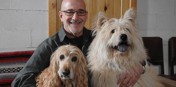 Francis Battista with two dogs