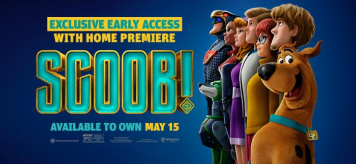 SCOOB! image of Scooby-Doo and the gang talking about exclusive early access to buy on May 15